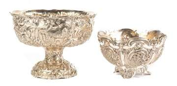Sterling Footed Bowl and 800 Silver Center Bowl
