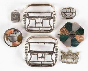 Various Buckles and Hard Stone Pins