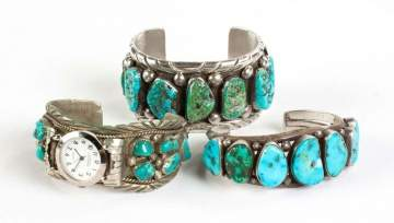 Three 800 Silver and Turquoise Navajo Bracelets