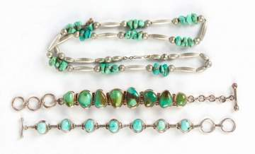 Natural Turquoise and 800 Silver Bracelets and Necklace