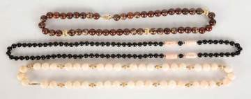 Group of Black Onyx , Agate, and Hard Stone Necklaces