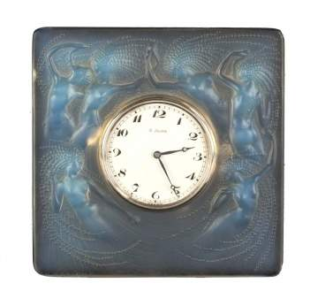 R. Lalique 'Naiades' Table Clock