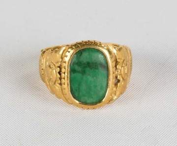 Chinese Gold and Jade Ring