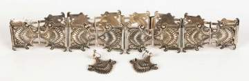 Mexican Sterling Belt and Earrings