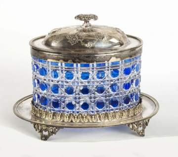 Silver Plate Covered Cut Class Overlay Biscuit Jar