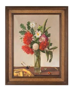 Fernand Renard (French, born 1912) Vase with Red Flowers