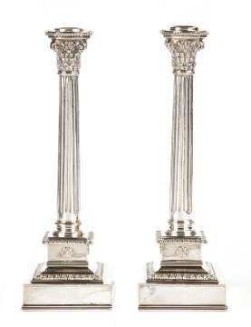 Pair of Buccellati Classical Form Sterling Silver Candlesticks