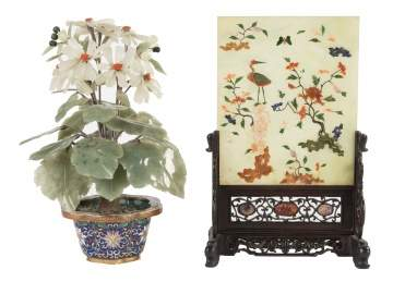 Hard Stone Flower in Cloisonné Pot & Chinese Table Screen