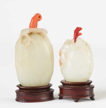 Two Chinese Carved Jade Gourd Shaped Snuff Bottles