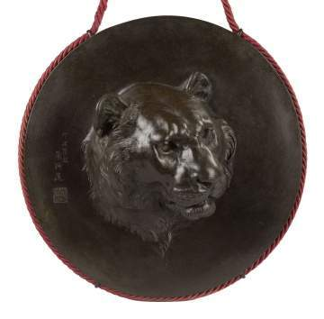 Japanese Bronze Wall Plaque with Tiger