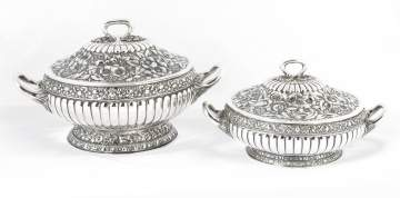 Tiffany & Co. Makers Sterling Silver Two Matching  Repousse Covered Serving Piece