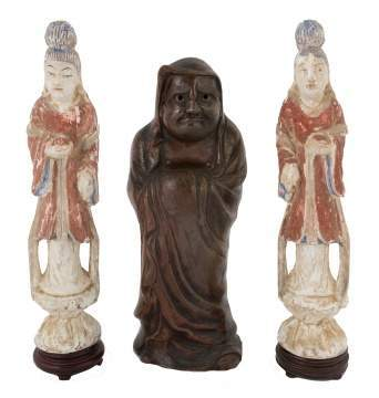 Pair of Carved Chinese Goddess Figures and Japanese Ceramic Figure of Dharma