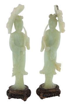 Chinese Carved Jade Geisha Girl Figures