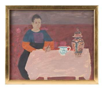 "Honore Desmond Sharrer (American, 1920-2009) ""Woman at Table"""