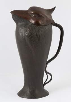 Hammered Bronze and Copper Bird Form Covered  Pitcher
