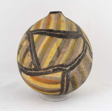 Rick Dillingham (American, 1952-1997) Pot With Yellow Stripes