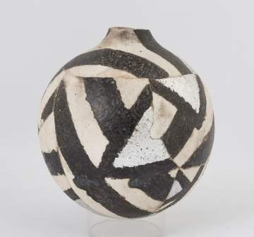 Rick Dillingham (American, 1952-1997) Pot with Black and White Stripes and Silver