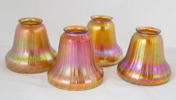 Four Steuben Gold Aurene Bell Shaped Ribbed Shades