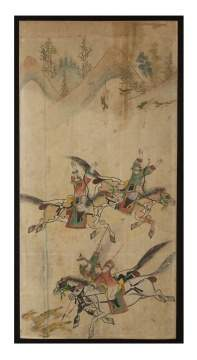 Asian Watercolor of a Warrior Scene