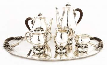 Mexican Sterling Silver Six Piece Tea Service by Codan