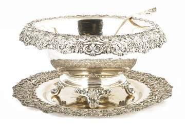 Dominick and Haff Sterling Silver Footed Punch Bowl, Tray and Ladle