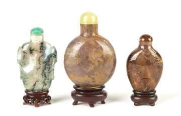 Three Chinese Agate Snuff Bottles