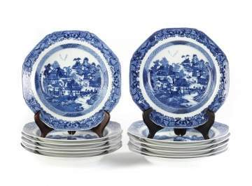 Chinese Export Canton Blue and White Porcelain Soup Bowls, Set of 12