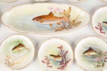 Limoges Hand Painted Fish Set