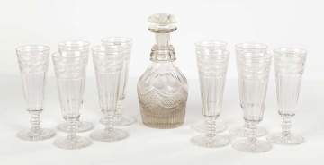 Ten Engraved and Cut Flutes w/Cut Glass Decanter