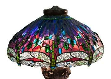 Leaded Glass & Jeweled Drop Head Dragonfly Table Lamp