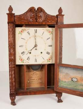 Eli Terry & Sons Carved Column Shelf Clock