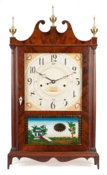 Seth Thomas Off Center Pillar & Scroll Shelf Clock