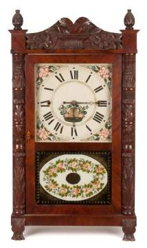 Erastus Hodges, Torrington, CT, Carved Column Shelf Clock