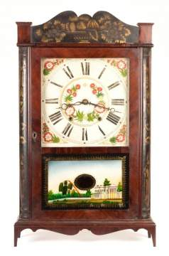 Henry Terry, Plymouth CT, Stenciled Scroll Quarter Column Shelf Clock