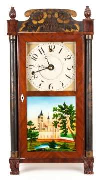 Miniature Silas Hoadley, Plymouth, CT, Stenciled Shelf Clock