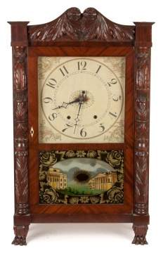 Mark Leavenworth & Co., Waterbury, CT. Carved Shelf Clock