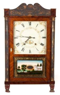 Eli Terry & Sons Quarter Stenciled Column Shelf Clock