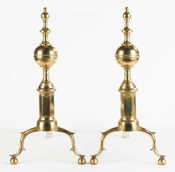 Pair of NY Early Andirons and Wrought Iron Tremmel