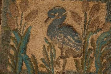 Hooked Rug with Heron and Cattails with Trupunto Work