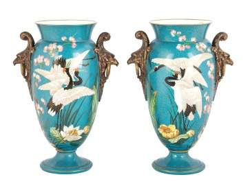 Porcelain Vases with Herons & Bird Handles