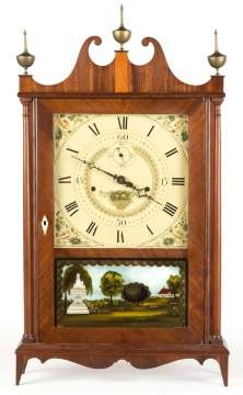 Seth Thomas Off Center Pillar and Scroll Shelf Clock