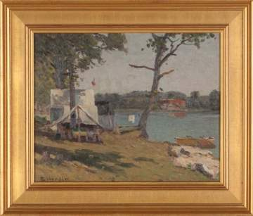 "George Herdle (American, 1868-1922) ""Camp by the Lake"""