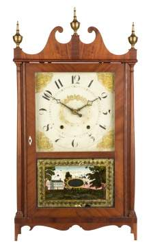 Ephraim Downes Pillar & Scroll Shelf Clock