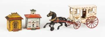 Painted Cast Iron Milk and Cream Horse Drawn Cart