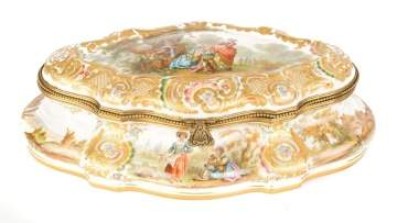 Meissen Type Porcelain Decorated Box