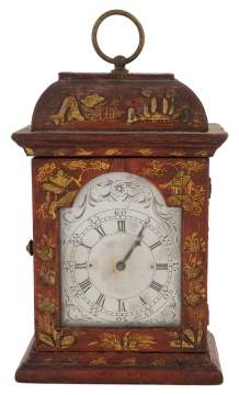 French Miniature Vermilion Chinoiserie Carriage Clock