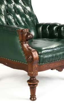 Tufted Leather & Carved Walnut Dog Head Armchair