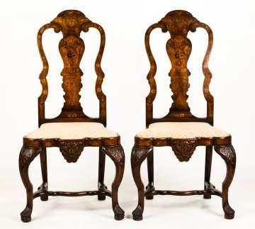 Two Dutch Queen Anne Marquetry Chairs