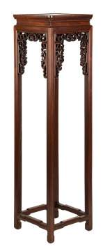 Chinese Carved Hardwood Tall Stand