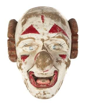 Early 20th Century Carved Wood & Painted Clown Mask